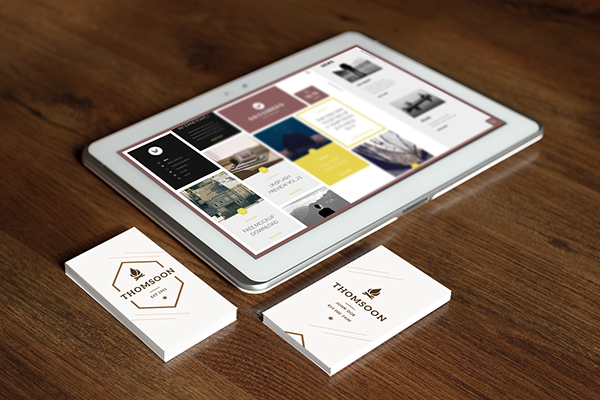 Free Business Card and Tablet PSD Mockup 8