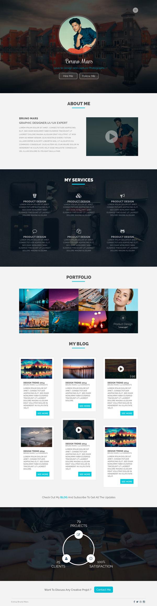 Free Designer Portfolio PSD Template