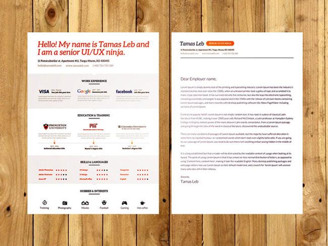 free visual resume cv psd  ai template