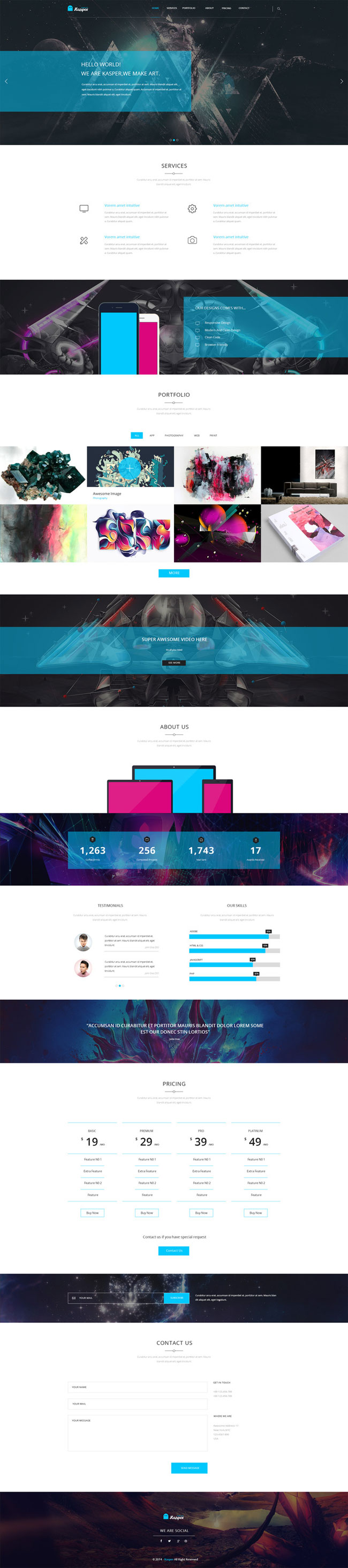 Kasper - Free Business One Page PSD Template