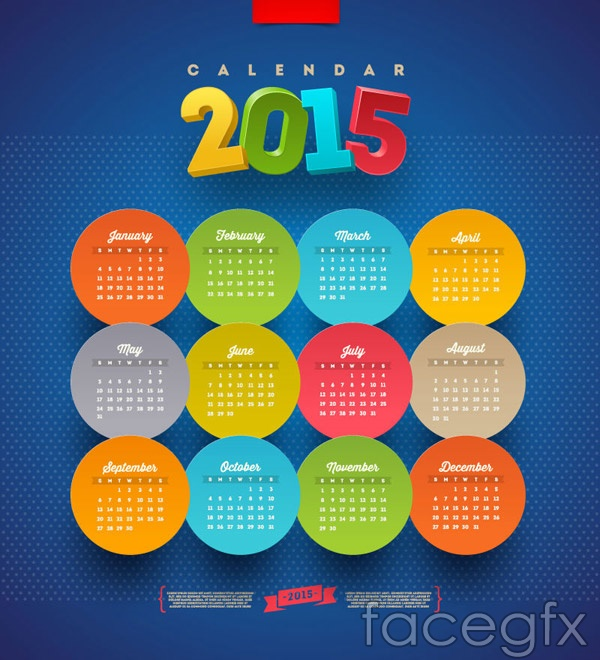 round-stickers-2015-calendars-vector