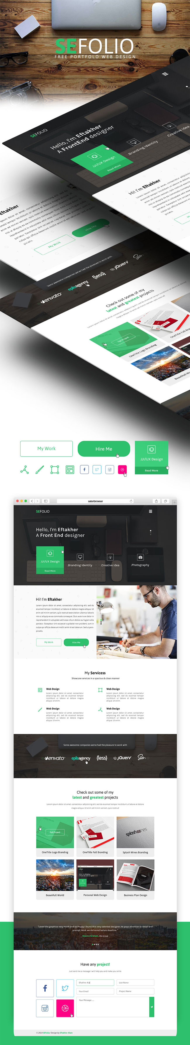 SEFolio - Free Personal One Page PSD Template