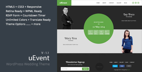 uEvent - Responsive Wedding WordPress Theme