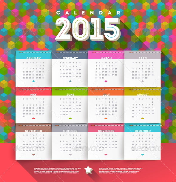 vector-abstract-multicolored-calendar-of-2015
