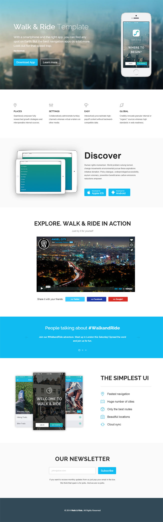 Walk & Ride - Free App Showcase HTML Template
