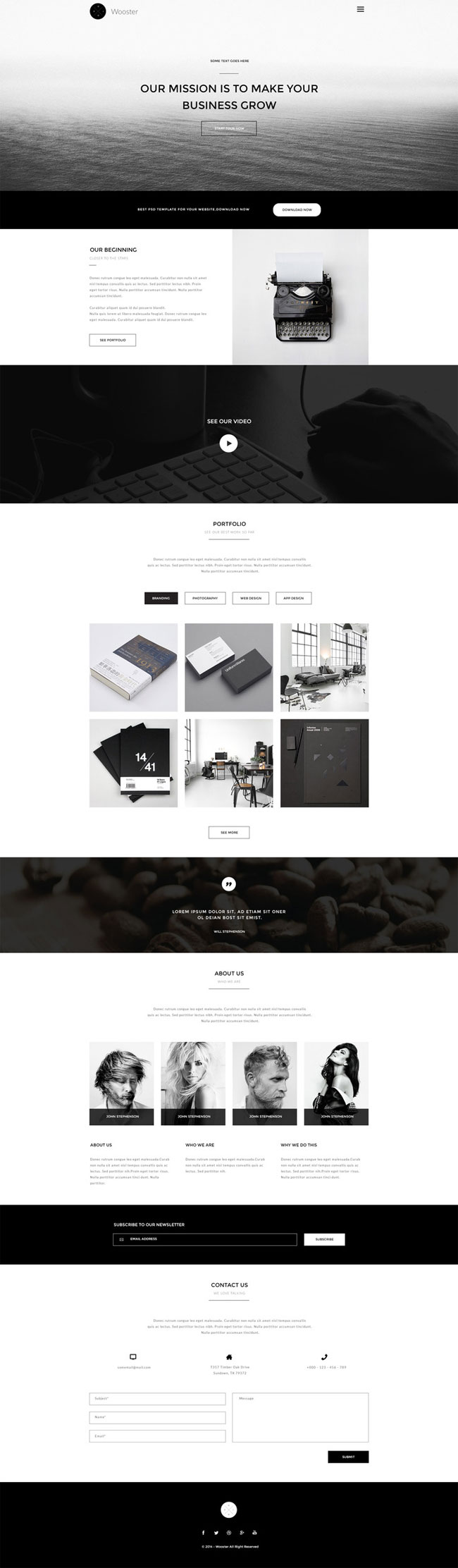 Wooster - Free Vintage One Page PSD Theme