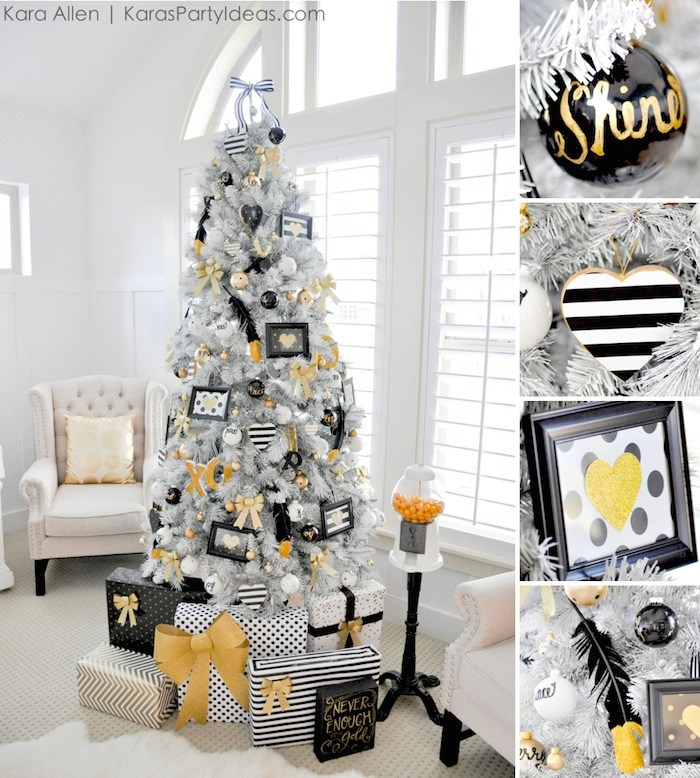 Black White Gold Christmas Tree