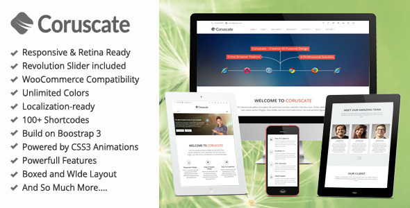 Coruscate - MultiPurpose Bootstrap WordPress Theme