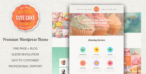 Cute Cake - Responsive One Page WordPress Theme