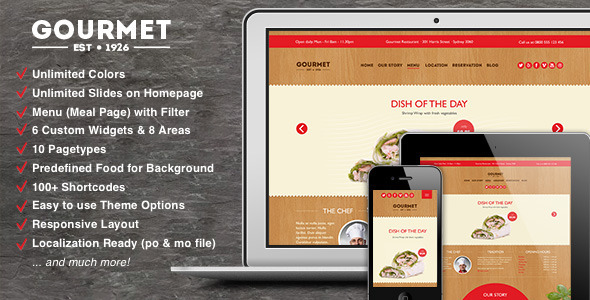 Gourmet - Restaurant Bar Hotel WordPress Theme