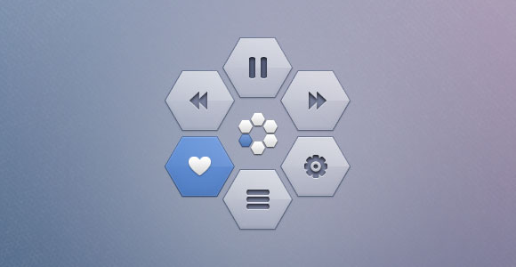 Hexagon pop-up PSD menu