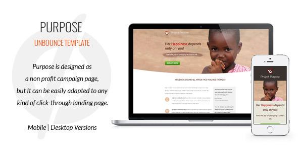 Purpose - Non-Profit Unbounce Template