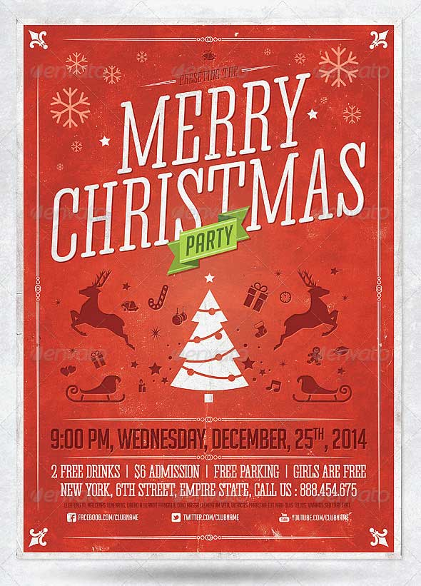 Retro-Christmas-Party-Flyer-Template