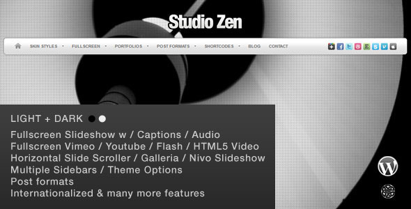 Studio Zen Fullscreen Portfolio WordPress Theme