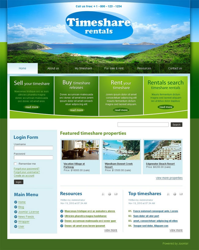 Timeshare-Rentals-Travel-Joomla-Template