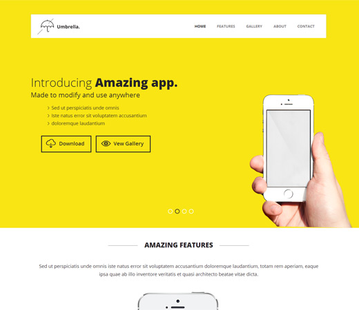 Umbrella - Responsive App Landing Page Website Template