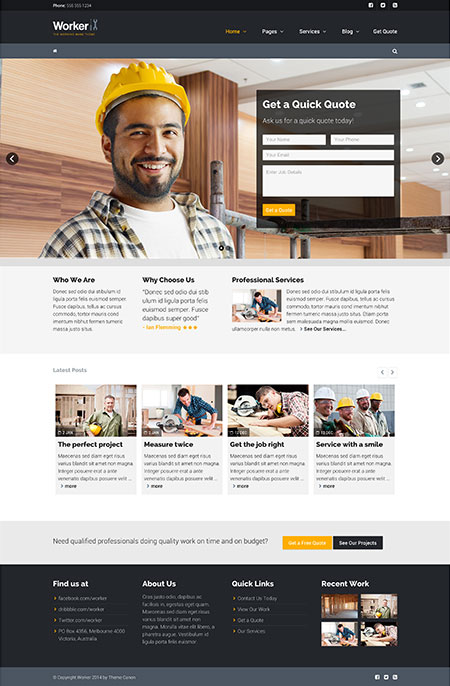 Worker The Working Mans WordPress Theme