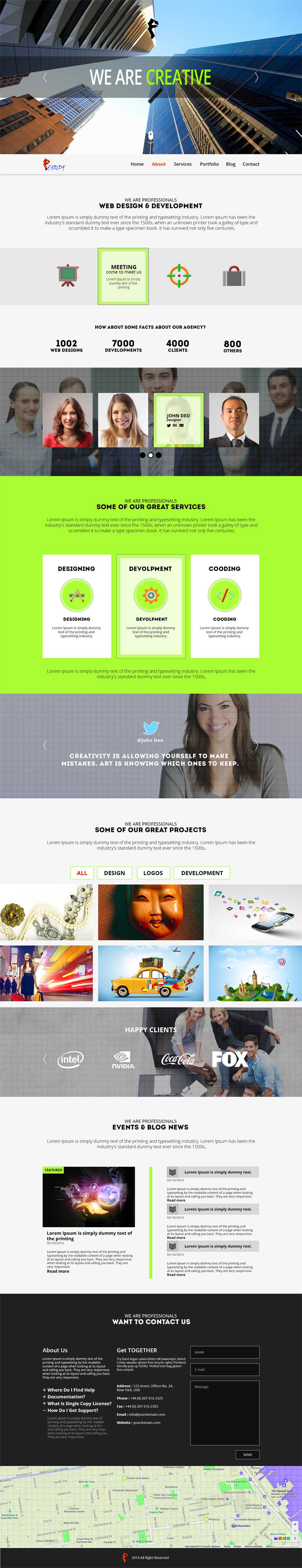 Faddy – Free One Page PSD Template