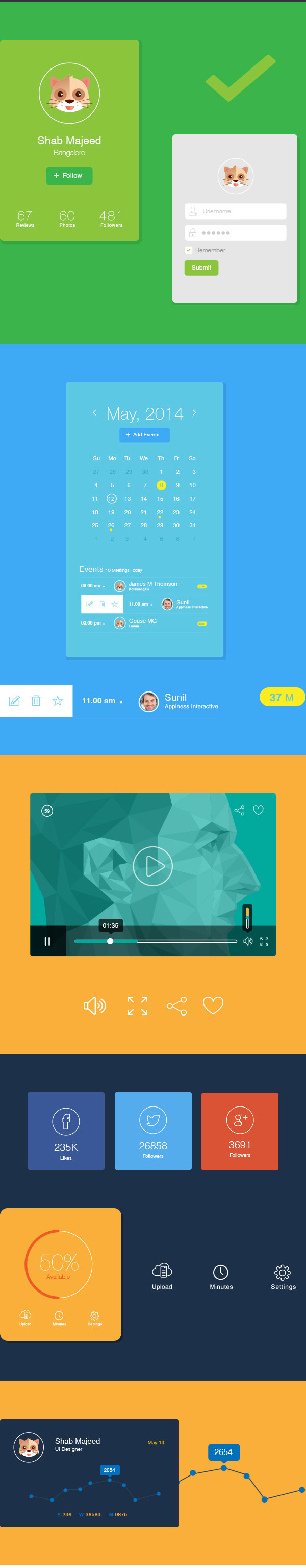 Flat UI Design Elements Vector AI