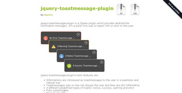 jQuery-Toastmessage