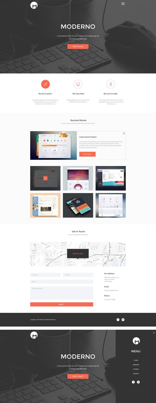 Moderno - Free Creative PSD Portfolio Template