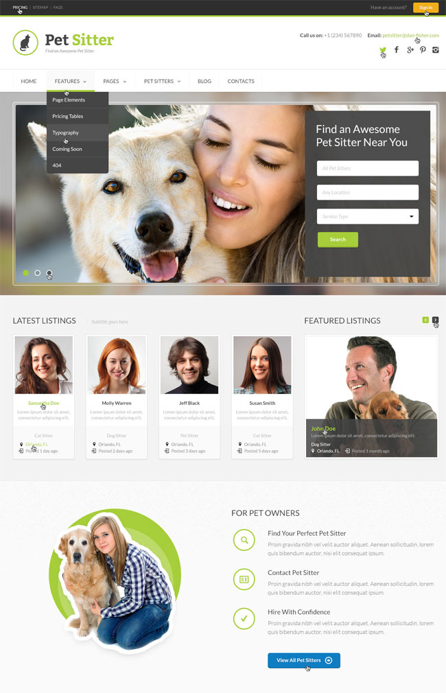 petsitter-job-board-responsive-wordpress-theme