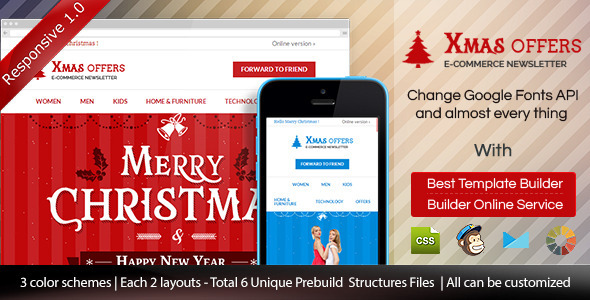 Christmas - E-commerce Responsive Email + Builder