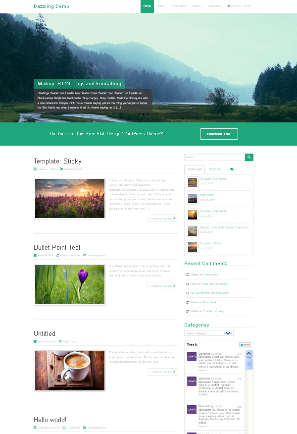Dazzling – Free Flat Design WordPress Business Theme
