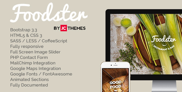Foodster - One Page Restaurant & Bar Theme