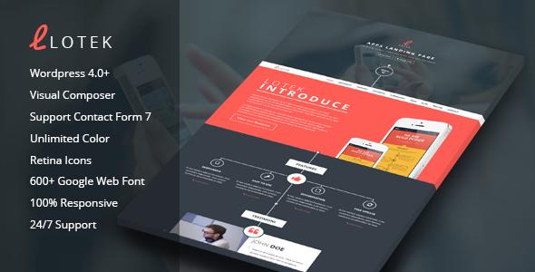 Lotek- Modern App Landing Page WordPress Theme