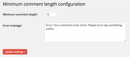 Minimum Comment Length WordPress Plugin
