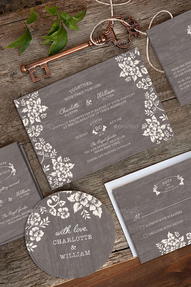 40 best wedding invitation psd templates designmaz wedding invitation package psd stopboris Choice Image