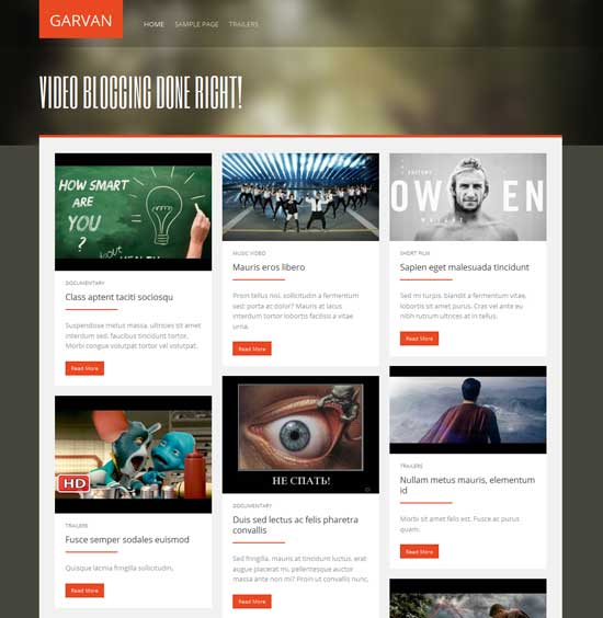 Garvan - Free Video WordPress Themes