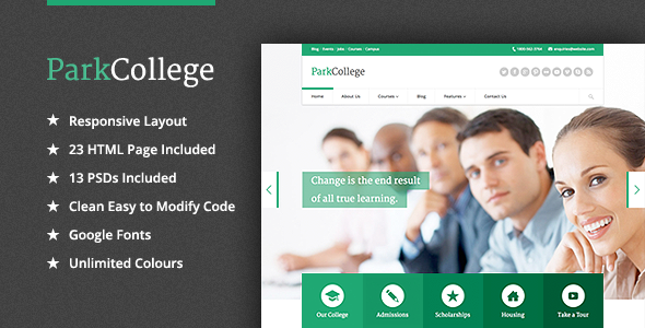 ParkCollege - Education Responsive HTML Template