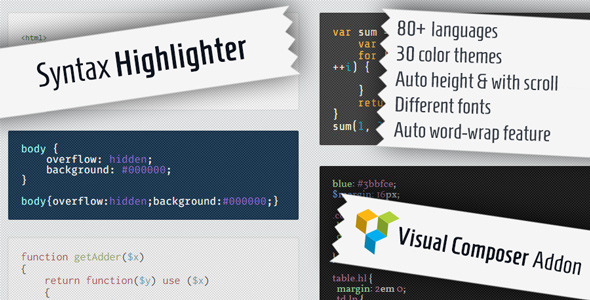 Syntax Highlighter for Visual Composer
