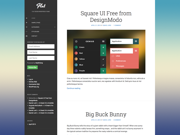 Flat WordPress Blog Theme