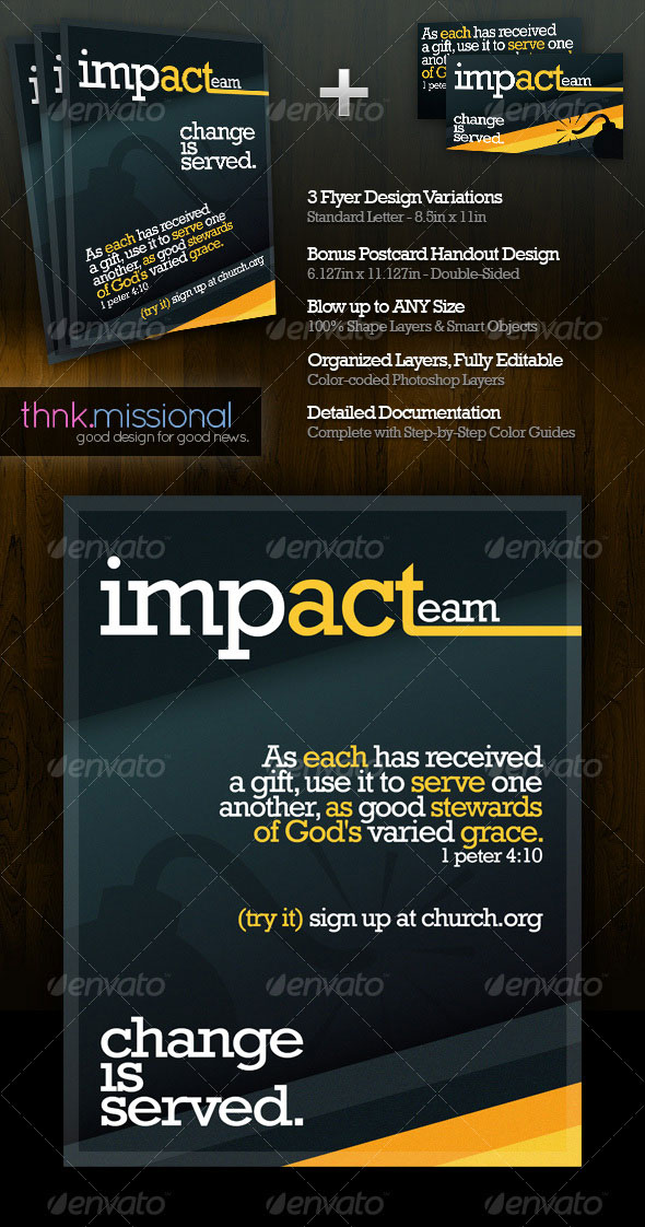 Impacteam-Church-Flyer-&-Postcard-Handout-Set