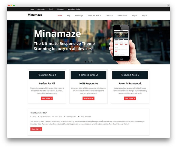 Minamaze Multi-purpose Professional WordPress Theme Free