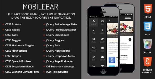 Mobilebar Mobile Retina - HTML5 & CSS3 And iWebApp