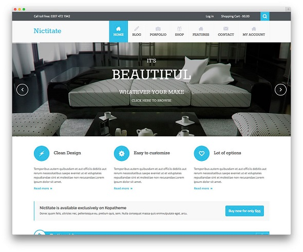 Nictitate Portfolios Corporate WordPress Theme Free