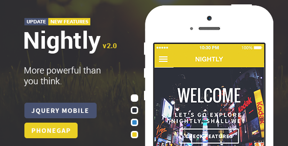 Nightly - A Bold jQuery Mobile Template