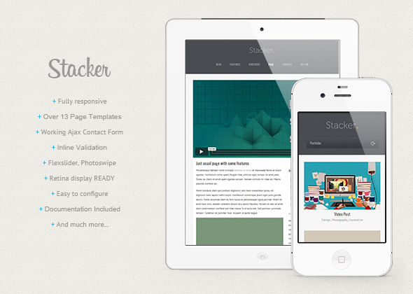 Stacker - Responsive HTML5-CSS3 Mobile Template