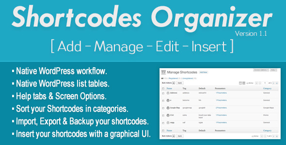 Shortcodes Organizer