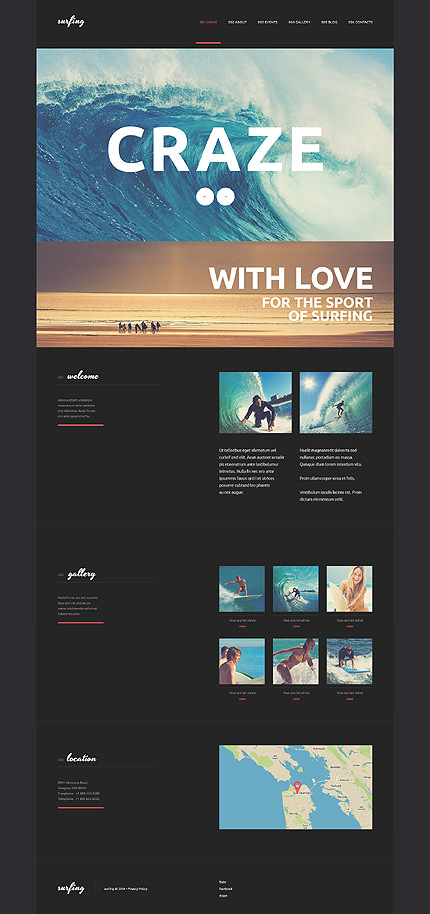 Surfing Club WordPress Theme