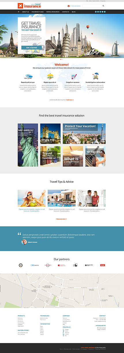 Travel Insurance Company WordPress Theme