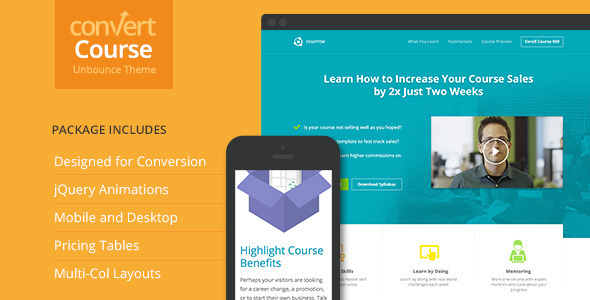Course Landing Page for Unbounce
