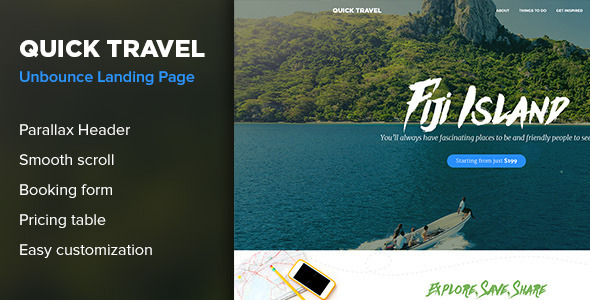 QuickTravel - Responsive Unbounce Landing Page