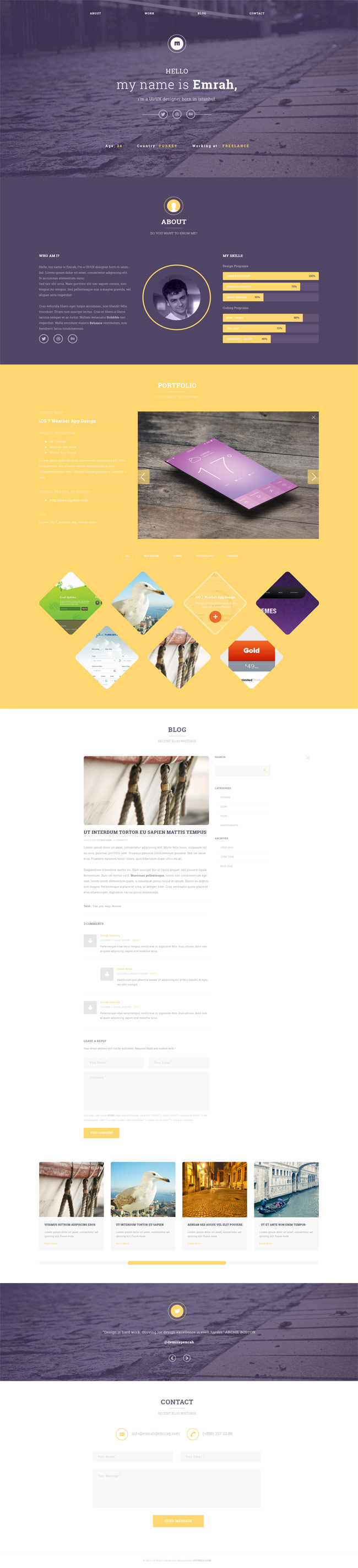 Free Clean and elegant One Page PSD Template
