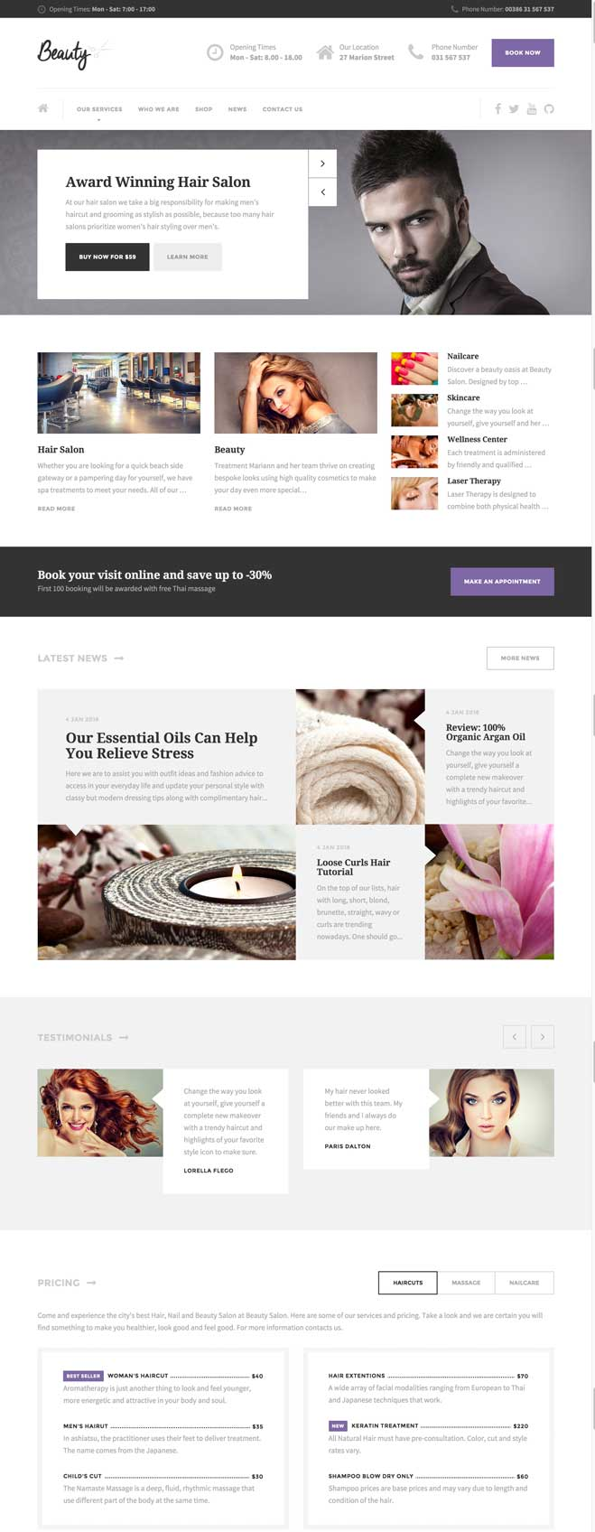 15 Best Hair Salon Wordpress Themes 2016 Designmaz