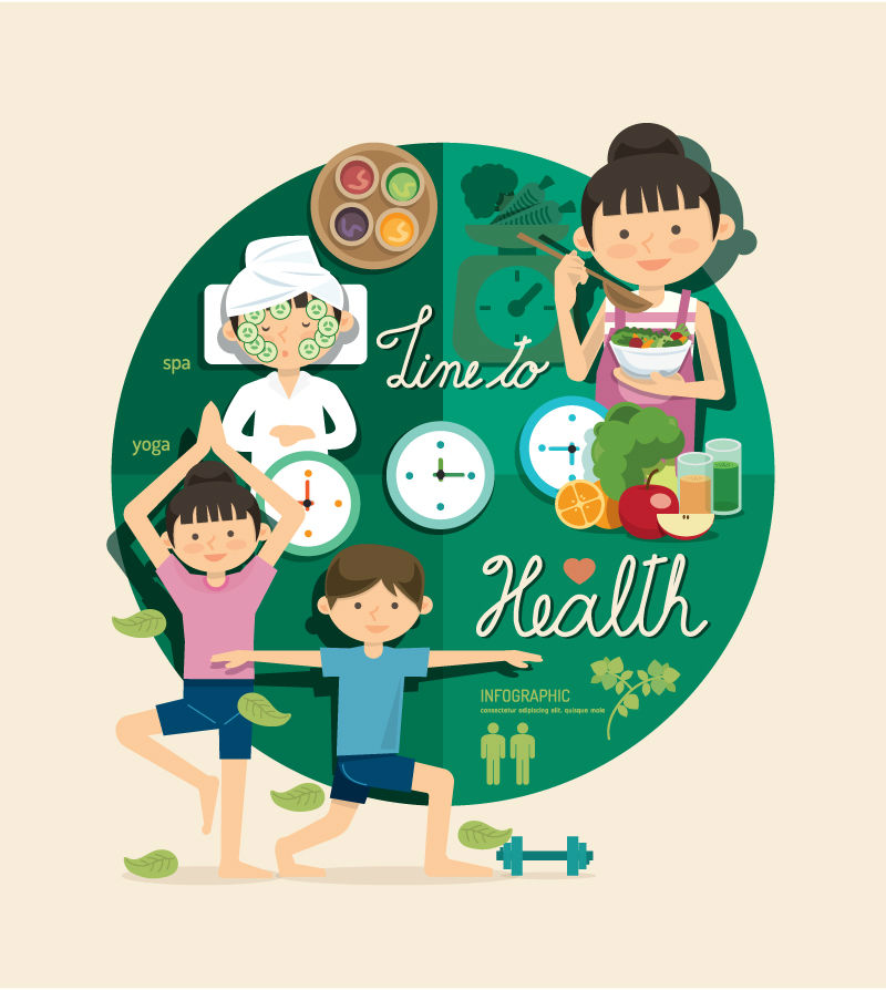 Cartoon character health infographic vector